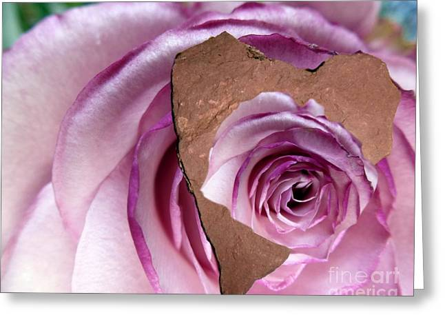 Heart Rock Neptune Rose Greeting Card by Marlene Rose Besso