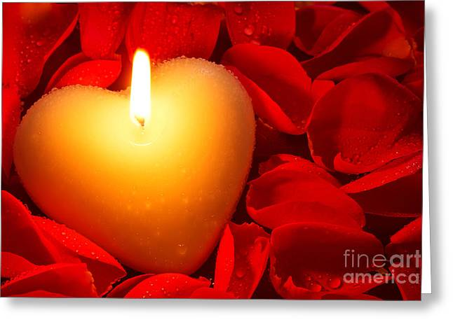 Heart Shape Candle And Rose Petals Greeting Card
