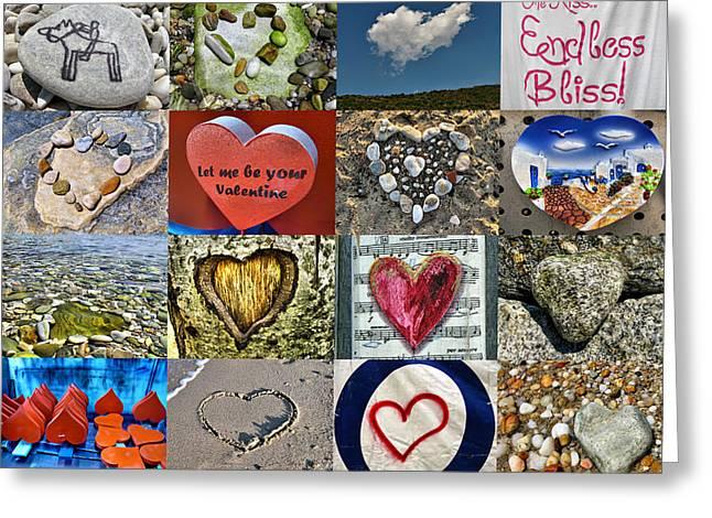 Heart Shape Collage  Greeting Card by Daliana Pacuraru
