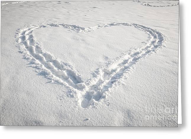 Heart Shape In Snow Greeting Card by Elena Elisseeva