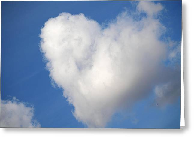 Heart Shaped Cloud In The Blue Sky Greeting Card by Jessica Foster
