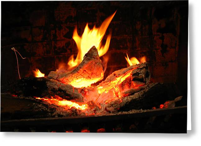 Heart-shaped Ember In Roaring Fire Greeting Card by Connie Fox