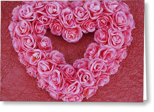 Heart-shaped Floral Arrangement Greeting Card by Darren Greenwood