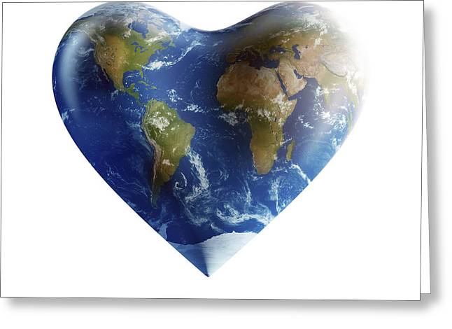 Heart-shaped Planet Earth On A White Greeting Card by Evgeny Kuklev