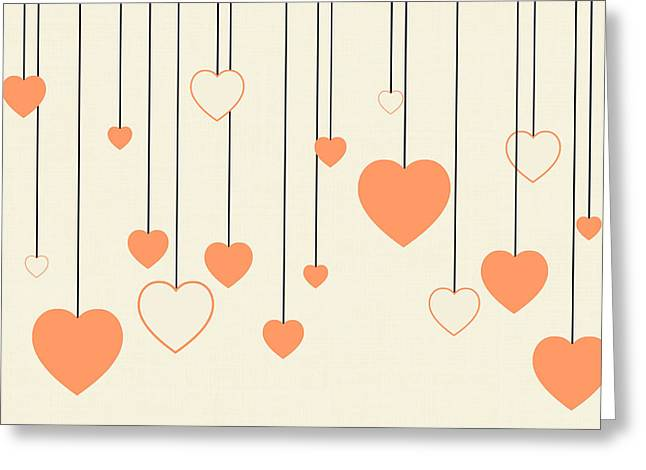 Heart Strings In Peach Greeting Card by Chastity Hoff