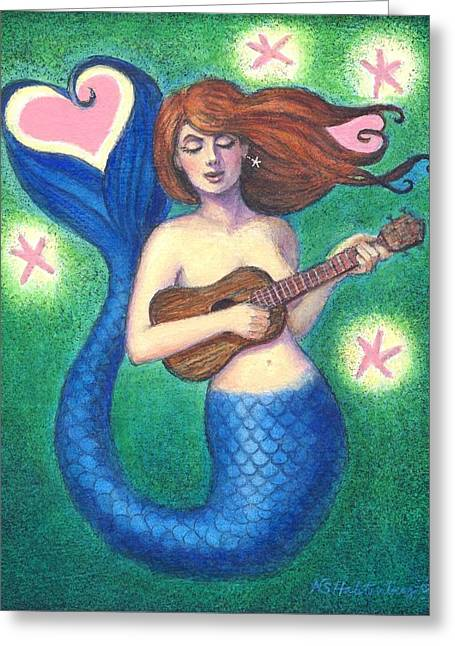 Greeting Card featuring the painting Heart Tail Mermaid by Sue Halstenberg