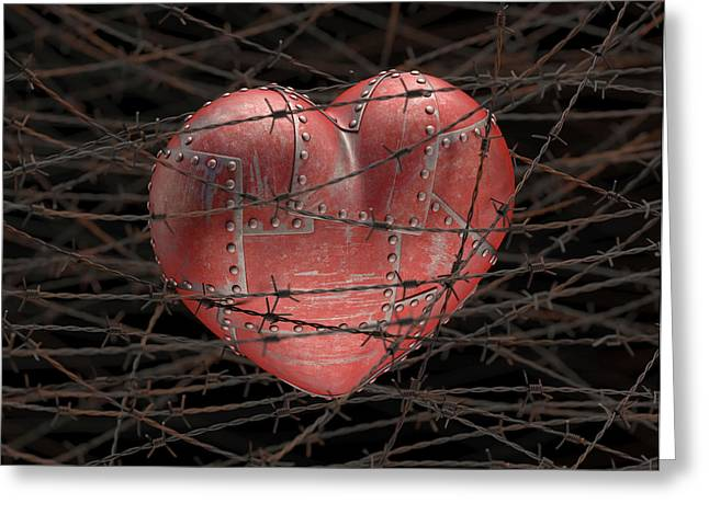 Heart With Barbed Wire Greeting Card