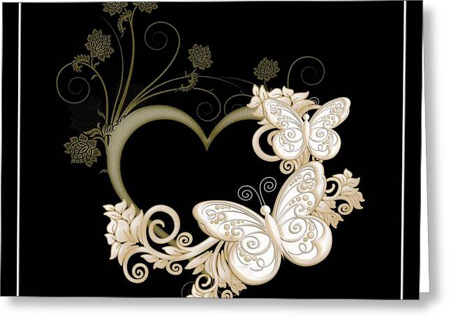 Heart With Butterflies And Flowers On Black Greeting Card by Rose Santuci-Sofranko