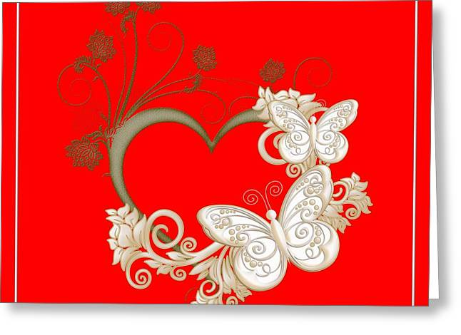 Heart With Butterflies And Flowers Greeting Card by Rose Santuci-Sofranko