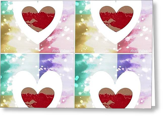 Greeting Card featuring the digital art Heartful by Ann Calvo