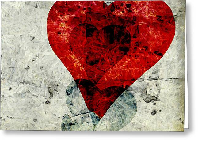 Hearts 3 Square Greeting Card by Edward Fielding