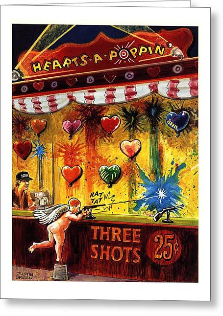 Hearts-a-poppin' Greeting Card by Justin Gree