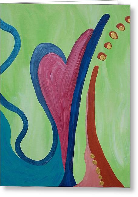 Hearts Ablaze Greeting Card by Angela Vincenti