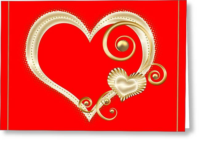 Hearts In Gold And Ivory On Red Greeting Card