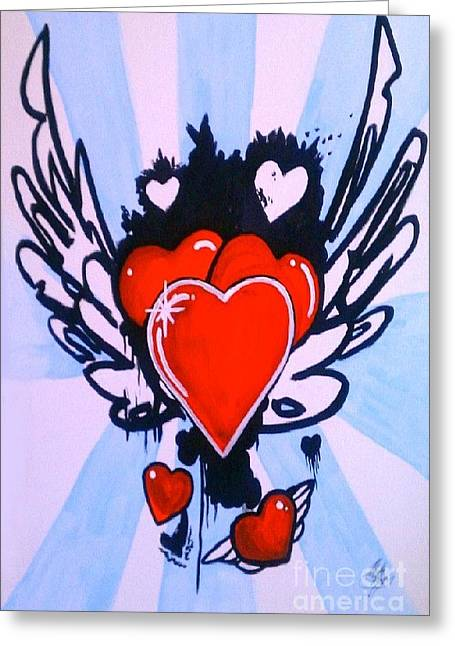 Greeting Card featuring the painting Hearts by Marisela Mungia