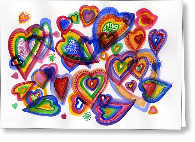 Hearts Of Colour Greeting Card