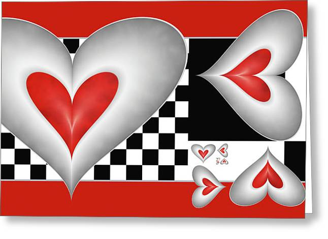 Greeting Card featuring the digital art Hearts On A Chessboard by Gabiw Art