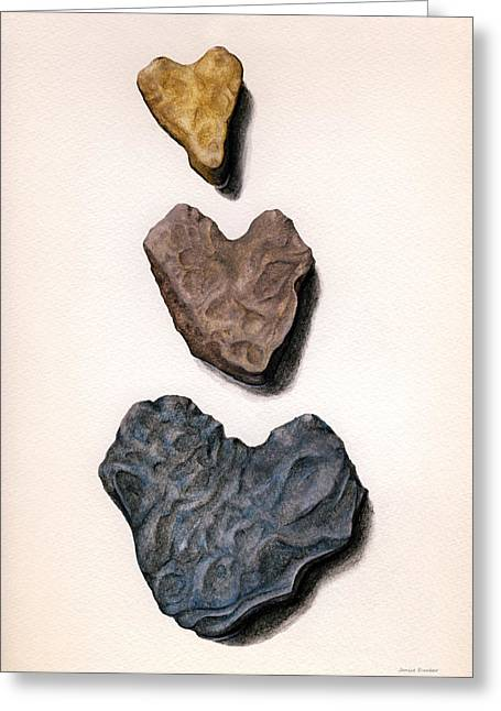 Hearts Rock Greeting Card by Janice Dunbar