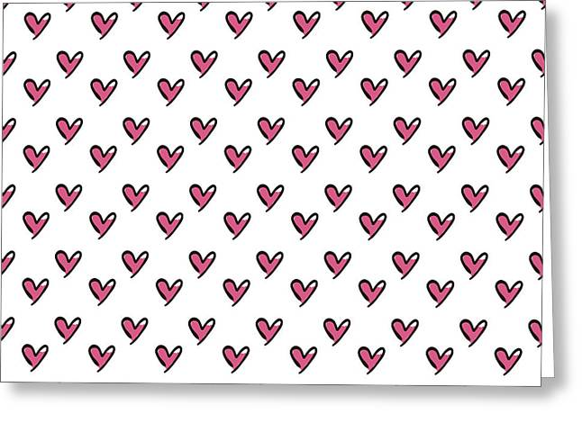 Hearts Seamless Pattern. Cute Doodle Greeting Card