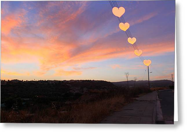 Hearts Sunset Greeting Card
