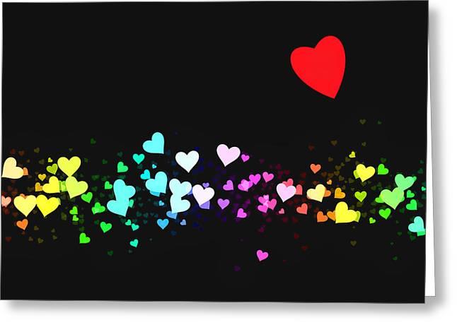 Hearts Trail Greeting Card by Daniel Hagerman