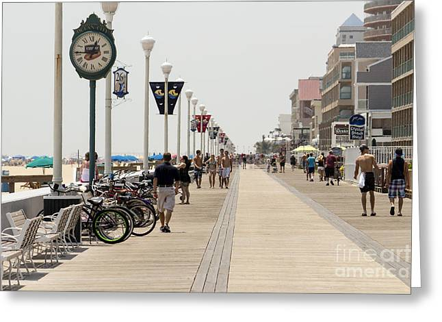 Heat Waves Make The Boardwalk Shimmer In The Distance Greeting Card