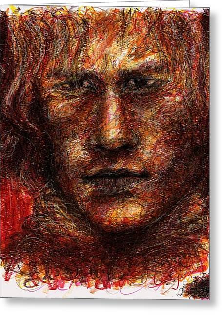 Heath Ledger - Red Greeting Card by Rachel Scott