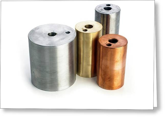 Heating Blocks Of Different Metals Greeting Card by Science Photo Library
