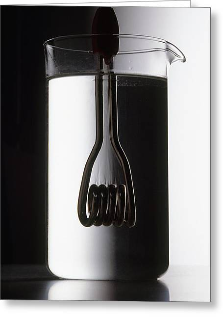 Heating Element Inside Beaker Greeting Card by Dorling Kindersley/uig