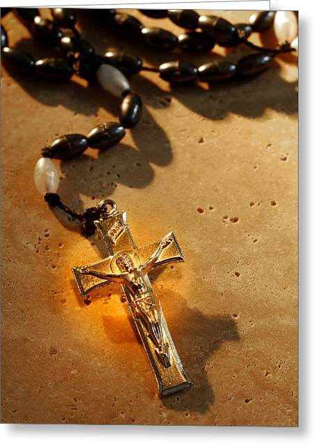Heavenly Light Rosary  Greeting Card by Norman Pogson