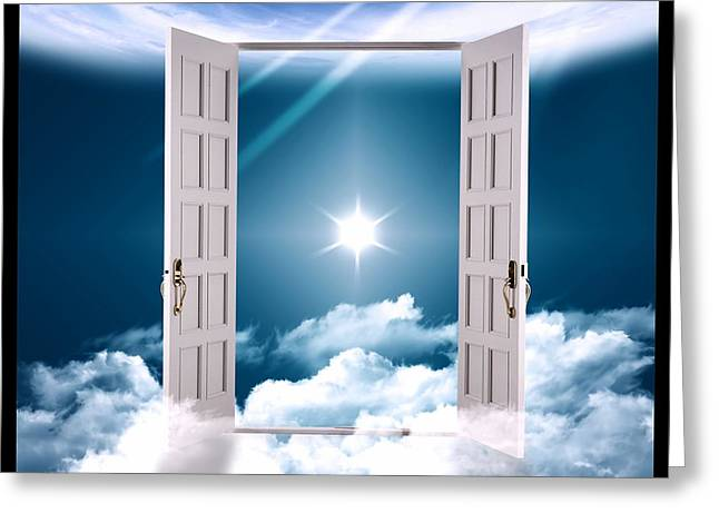 Heaven Gate On Clouds Greeting Card