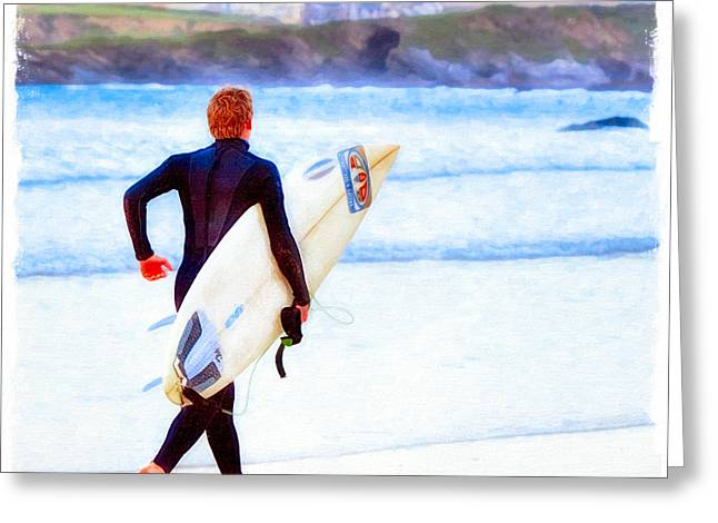 Heaven Is On A Wave - Surfer At Newquay Greeting Card by Mark E Tisdale