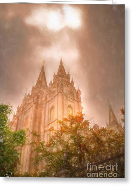 Heaven Let Your Light Shine Down Greeting Card by Sean Toler