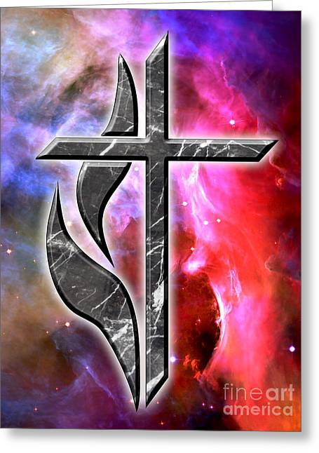 Heavenly Cross Greeting Card by Phill Petrovic