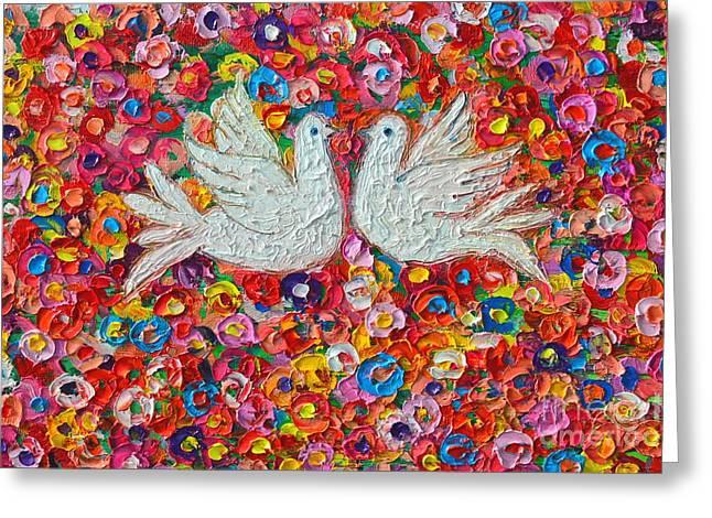 Heavenly Love - Gentle White Doves Greeting Card by Ana Maria Edulescu