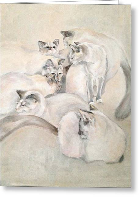 Heavenly Puffs Greeting Card by Janet Felts