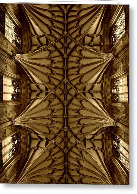 Heavenward -- Winchester Cathedral Ceiling In Sepia Greeting Card by Stephen Stookey