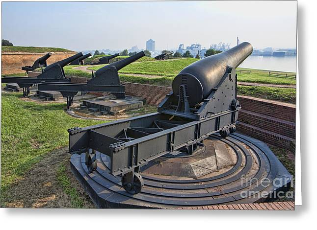 Heavy Cannon At Fort Mchenry In Baltimore Maryland Greeting Card by William Kuta