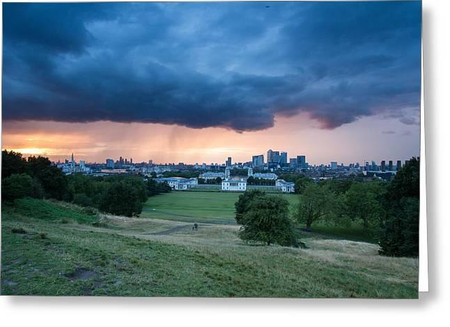 Heavy Rains Over London Greeting Card by Wayne Molyneux