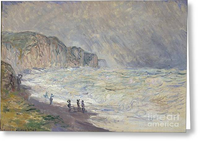 Heavy Sea At Pourville 1897 Greeting Card by Claude Monet