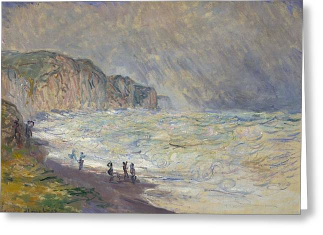 Heavy Sea At Pourville Greeting Card by Claude Monet