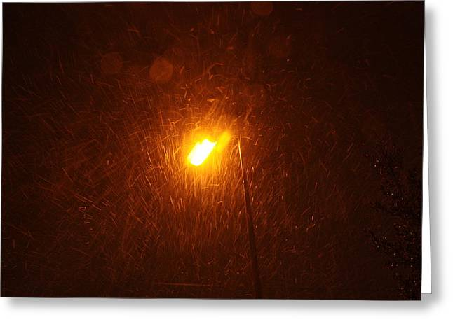 Greeting Card featuring the photograph Heavy Snows By Lamplight by Jean Walker