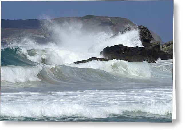 Heavy Surf Action Fernando De Noronha Brazil 1 Greeting Card by Bob Christopher