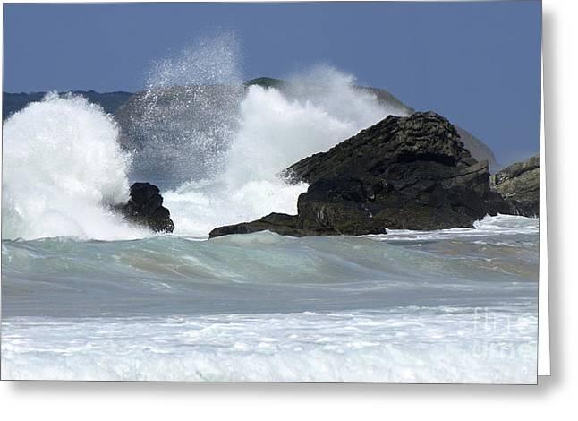 Heavy Surf Action Fernando De Noronha Brazil 2 Greeting Card by Bob Christopher