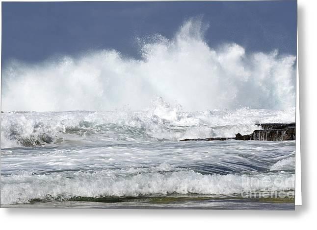 Heavy Surf Action Fernando De Noronha Brazil 3 Greeting Card by Bob Christopher