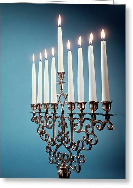 Hebrew Hanukkah Menorah Or Chanukiah Greeting Card
