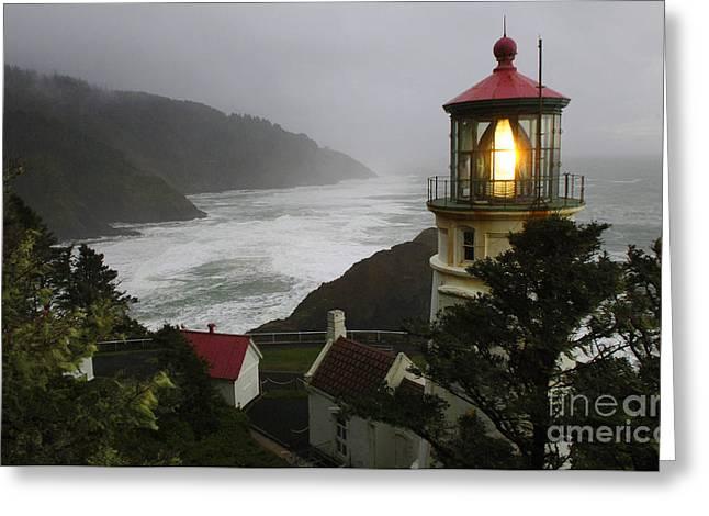 Heceta Head Lighthouse 1 Greeting Card by Bob Christopher