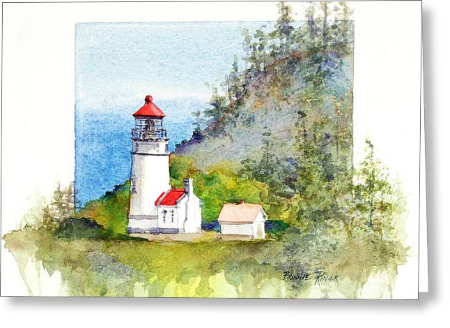 Heceta Head Lighthouse Greeting Card by Bonnie Rinier