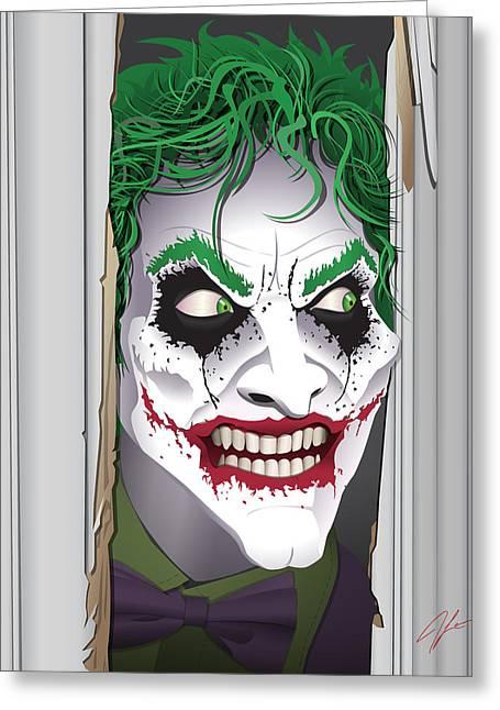 Heeeeeeeres Joker Greeting Card by James Lewis