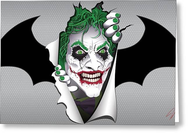 Heeeeeeeres Joker Too Greeting Card by James Lewis